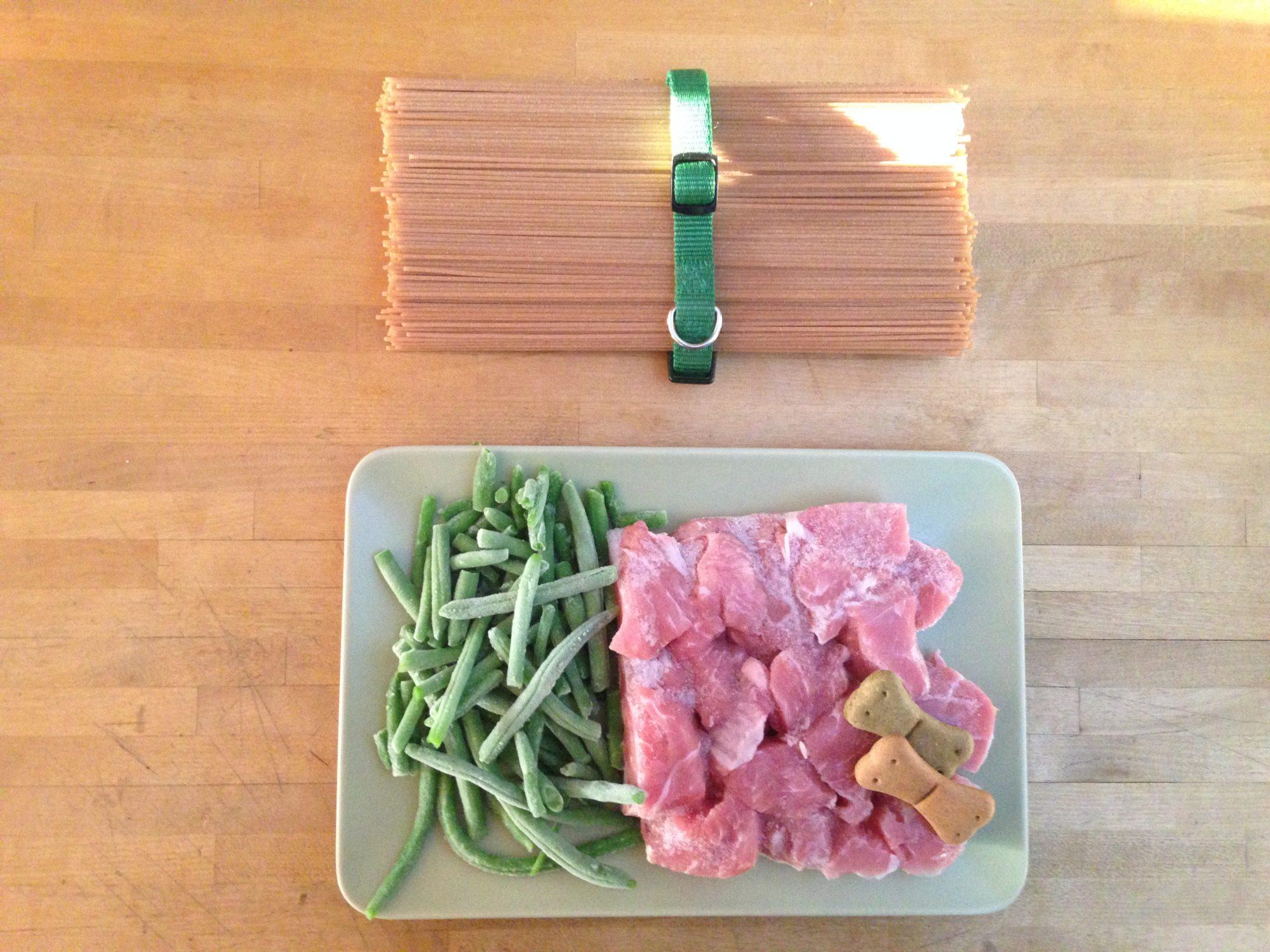 Bocconi di vitella con fagiolini e spaghetti integrali