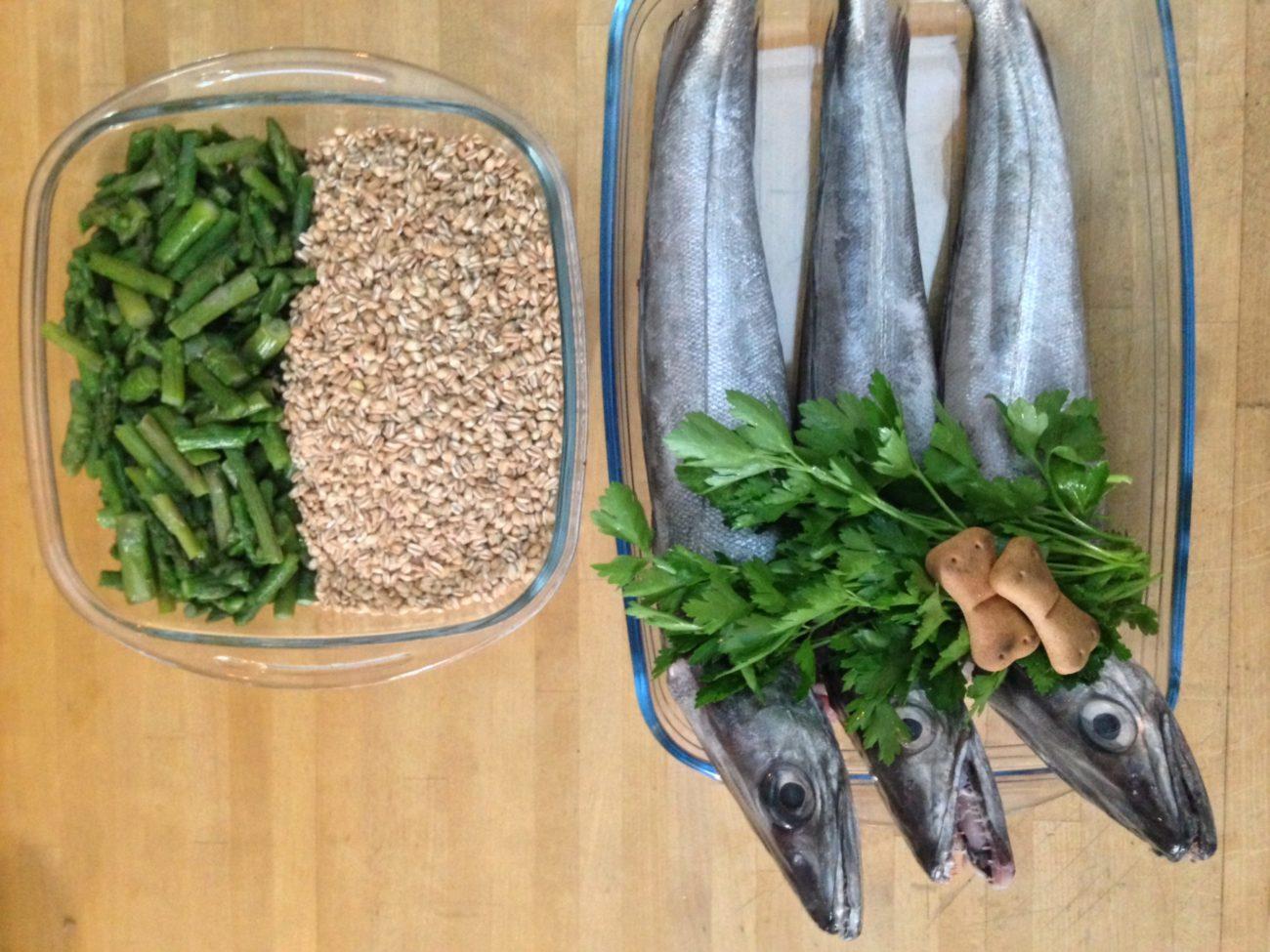 Merluzzo, farro e asparagi
